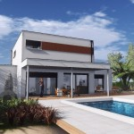 maison en pierre avec piscine toit plat
