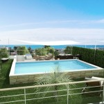 photo de maison de ville avec piscine toit plat