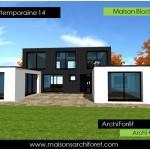 photo de maison design toit plat